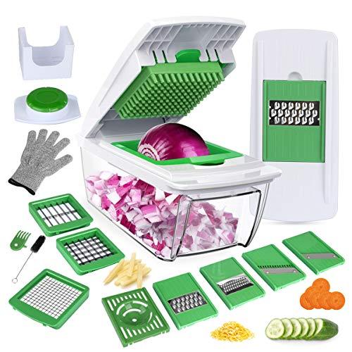 Mandoline-Cuisine-8-en-1-Multifonction-Professionnelle-Couper-les-Legumes-Sparer-les-Oeufs-Vert-8Lames-Diffrentes-Couteau-en-Acier-Inoxydable-Rapide-et-Facile–Nettoyer-Gants-et-Brosse-par-Bonus-0