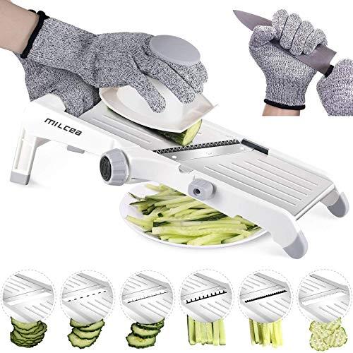 MILcea-Mandoline-de-cuisine-acier-inoxydable-multifonction-professionnelle-rglable-4-modes-trancheuse-pour-lgumes-fruits–partir-de-fin–9mm-gants-de-scurit-inclus-Blanc-0